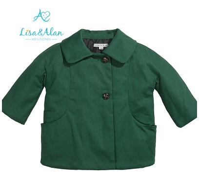 品牌好的韩版女童军绿色外套批发