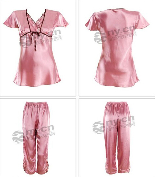 女士夏季睡衣宽松舒适短袖短裤套装家居服批发
