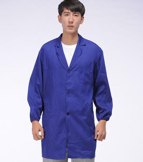 好质量蓝大褂订制批发 特价涤棉大褂生产 庞哲服饰