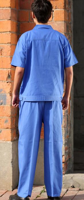 精品短袖蓝色工装定做 半袖劳保工作服批发 成都服装厂