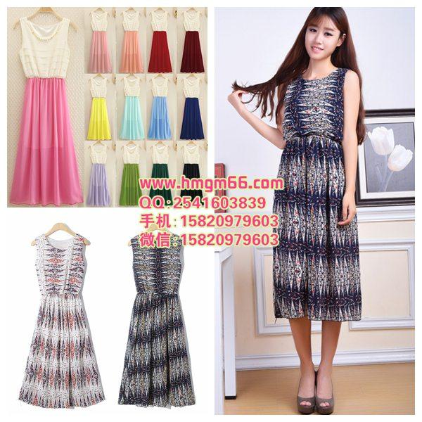 夏季时尚女装连衣裙网店服装货源厂家直销短袖连衣裙拿货