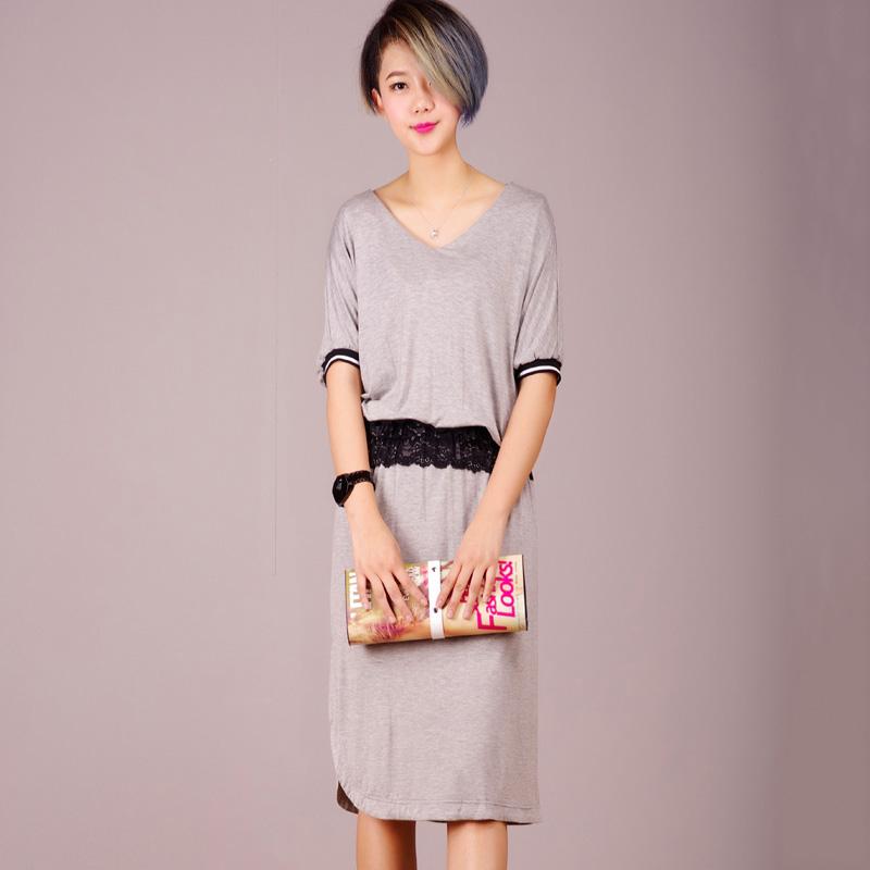 2015夏季新款女装 韩版休闲字母短袖印花连衣裙 学院风包邮