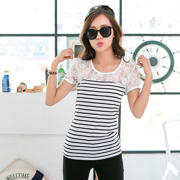 韩版修身显瘦T恤蕾丝拼接条纹圆领长袖打底衫