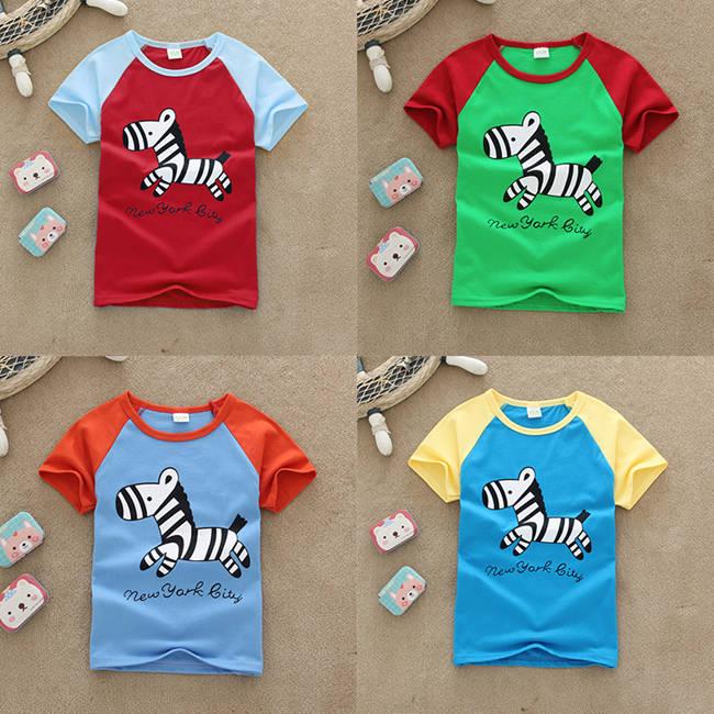 夏季小孩短袖T恤衫货源童装圆领纯棉T恤批发湖州织里童装批发市场