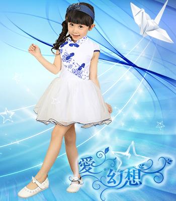 【六一爆款】时尚新款青花女孩连衣裙|短袖连衣裙|中国风青花裙子