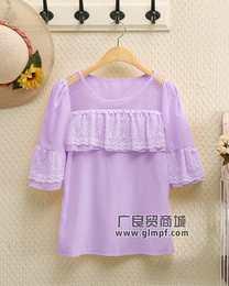 网上女装蕾丝上衣韩版时尚蕾丝衫货源中长款短袖蕾丝上衣批发