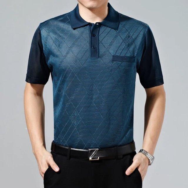 广州沙河便宜中老年男装短袖T恤批发 男装t恤翻领厂家直销