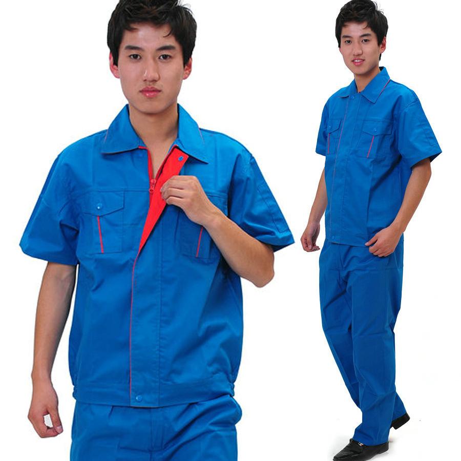 福州热卖短袖工作服 中国短袖套装工作服