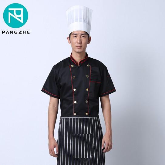 庞哲短袖厨师服夏装定制 酒店厨师服 西餐厅厨师服制服