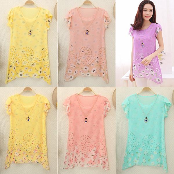 广东蕾丝雪纺衫网上女装蕾丝上衣韩版时尚蕾丝衫货源中长款短袖蕾丝上衣