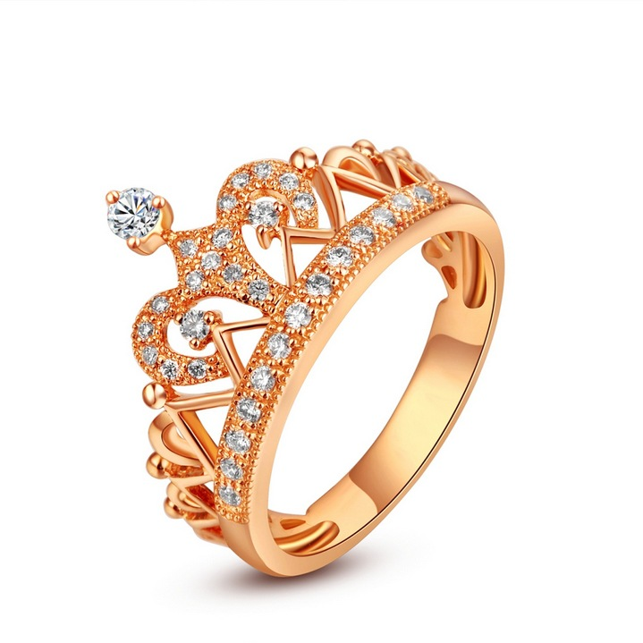 钻戒 18k黄金钻石 皇冠钻戒 结婚戒指 白金玫瑰金女戒婚戒 工厂