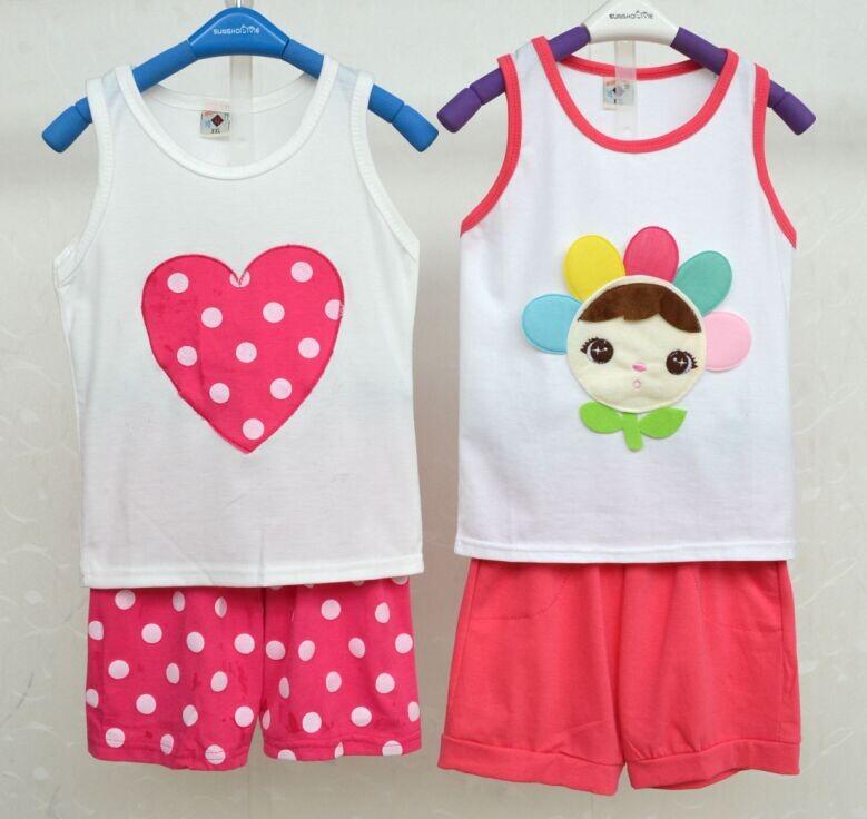 便宜的童装短裤背心货源批发童装夏季短袖套装批发