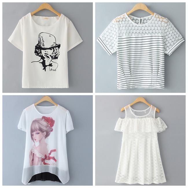 夏季女性印花短版T恤批发