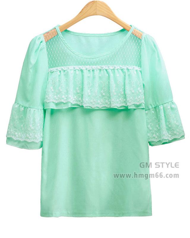 厂家直销女装网店一手货源韩版雪纺上衣批发