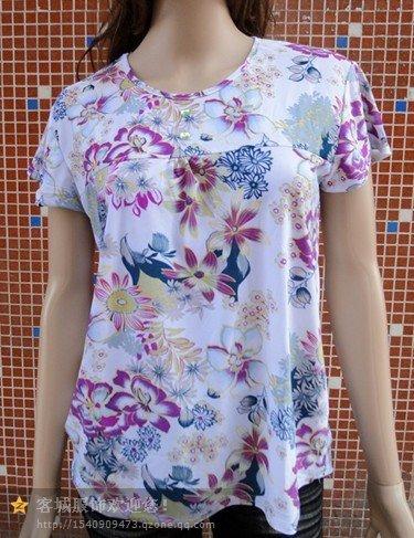 夏季十三行便宜中老年女装冰丝T恤短袖T恤批发