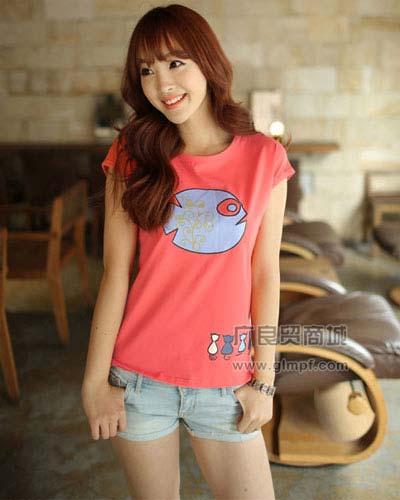 印花女装蝙蝠袖T恤时尚韩版夏装蝙蝠衫货源夏季新款宽松T恤