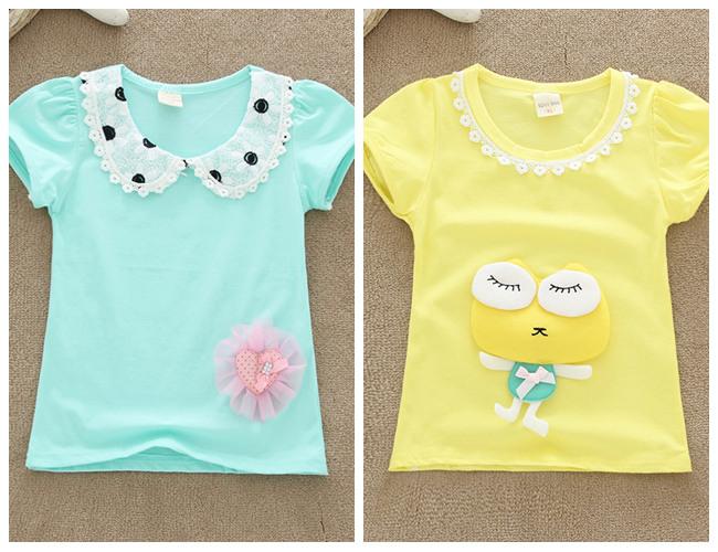 卡通T恤衫厂家直销童上衣批发韩版童装圆领彩色童装短袖T恤