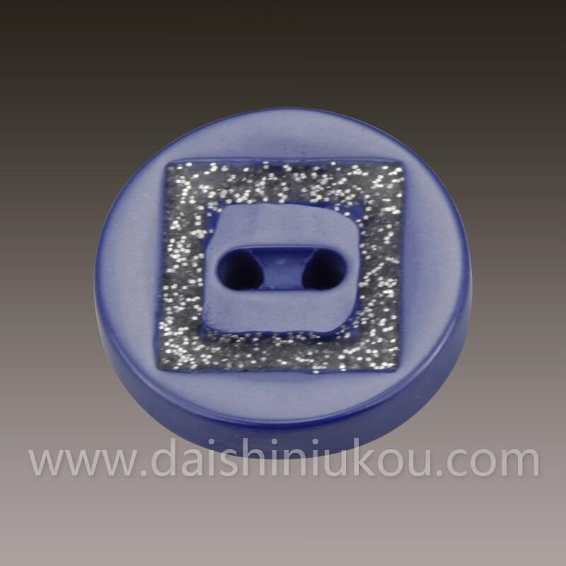 蓝色陶瓷纽扣镶方形树脂纽扣 纽扣批发 衬衣纽扣