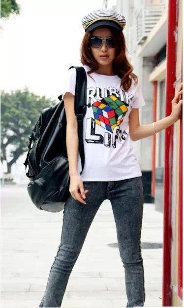 2015新款夏装女士短袖T恤韩版 时尚印花修身纯棉少女装t恤批发