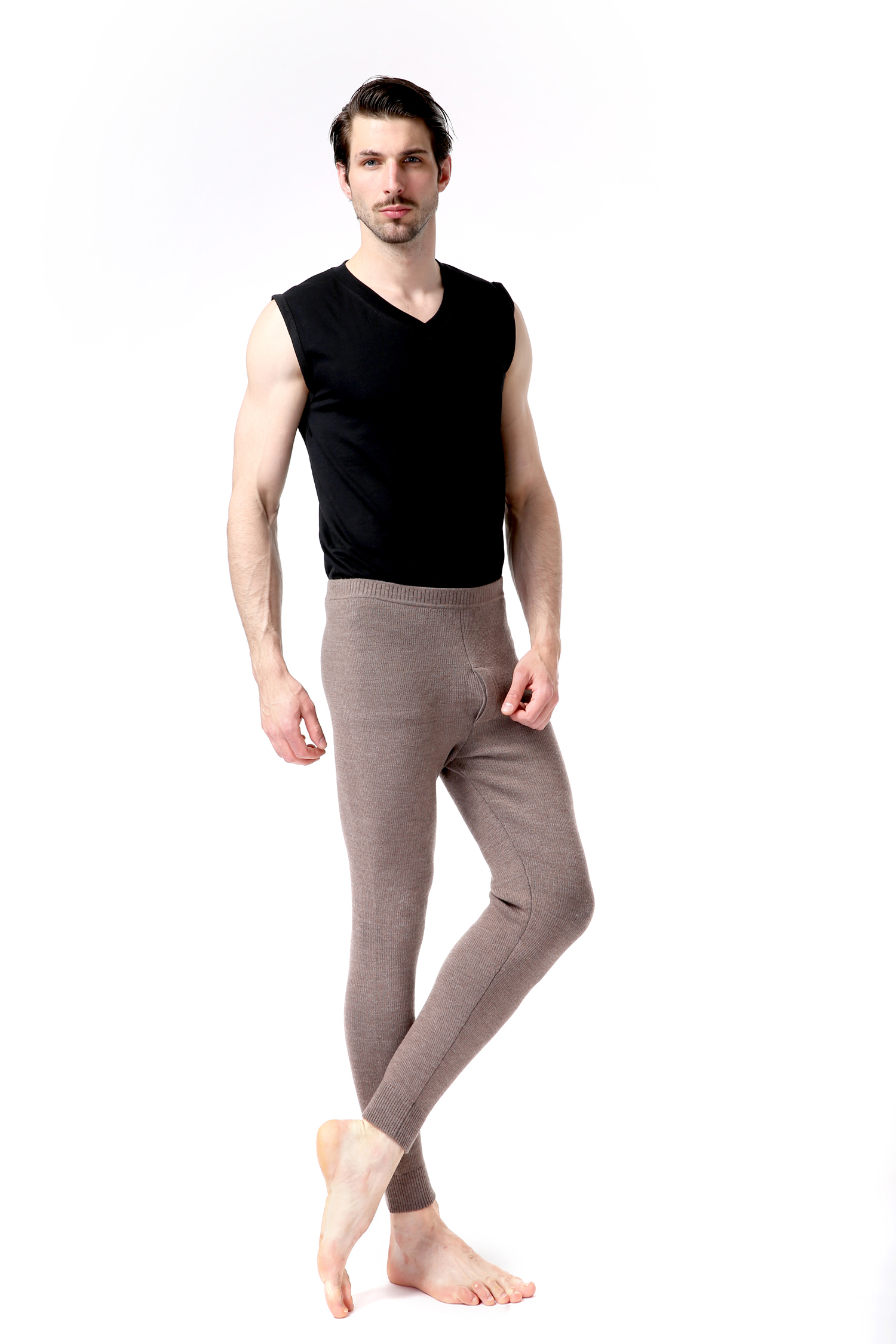 乌兰察布打底裤|品牌好的都兰诺斯澳毛男抽条裤推荐