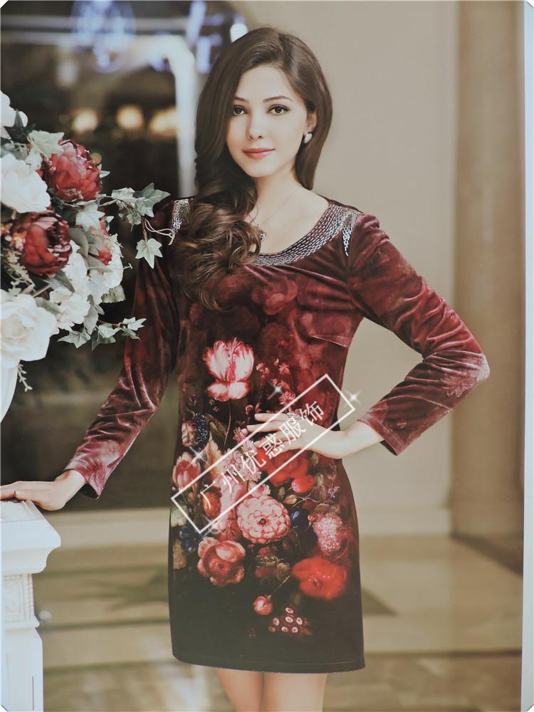 佳澜依尔秋装妈妈装金丝绒韩版时尚