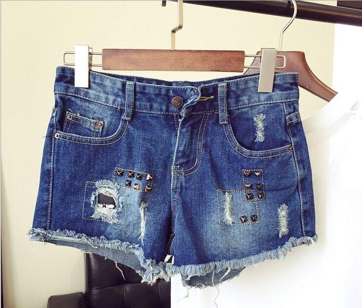 2015夏季潮流爆款韓版時尚低腰紅藍圖層女式牛仔短褲熱褲