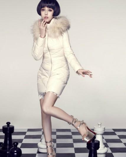 《朗曼笛》时尚国际羽绒服范冰冰代言折扣女装批发