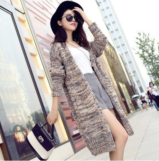 2015新款外搭秋季毛衣韩版宽松女式中长款开衫针织衫外套批发市场