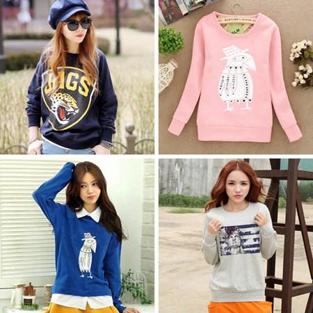 流行韩版女装上衣批发时尚纯色连帽卫衣便宜打底衫批