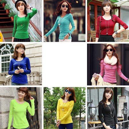 女装圆领纯色打底衫批发市场秋季长袖蕾丝上衣批发