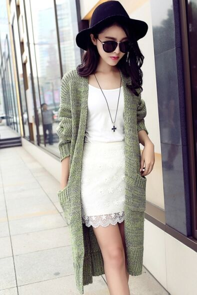 针织外套便宜批发厂家直销修身中长款毛衣针织开衫一手货源