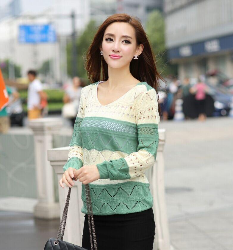 15新款秋冬女士上衣韩版毛衣针织衫条纹镂空宽松修身女装百搭套头针织衫批发