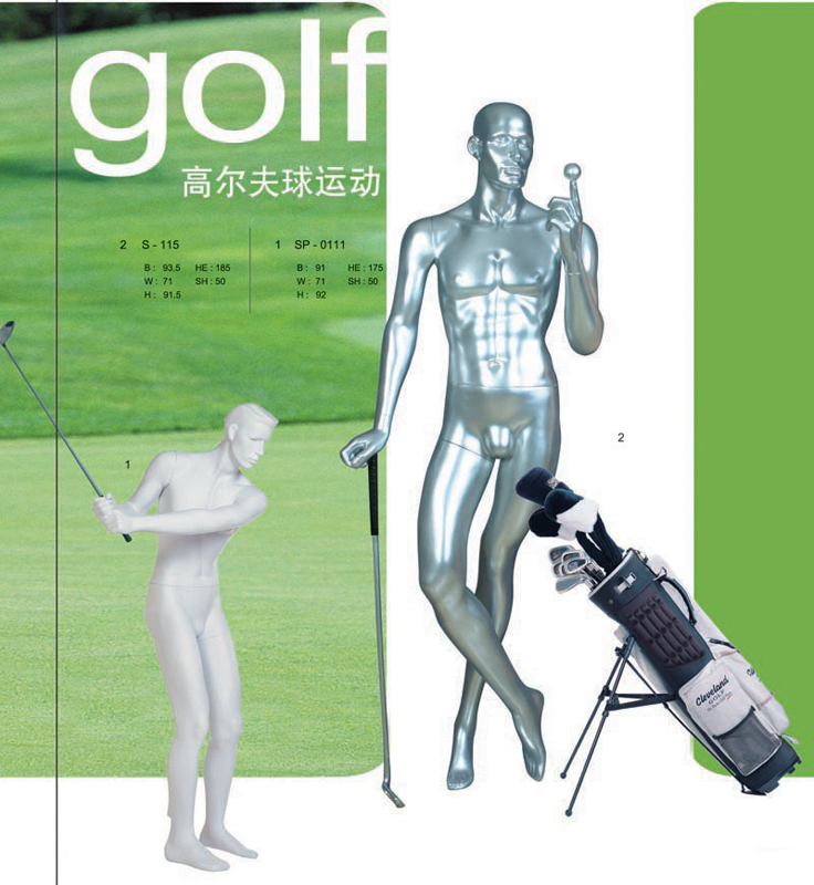出售打高尔夫球姿势模特模型