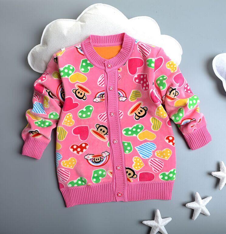 厂家童装不倒绒上衣便宜童装保暖上衣卡通印花开衫扣子款保暖衣中小童双层保暖绒上衣批发
