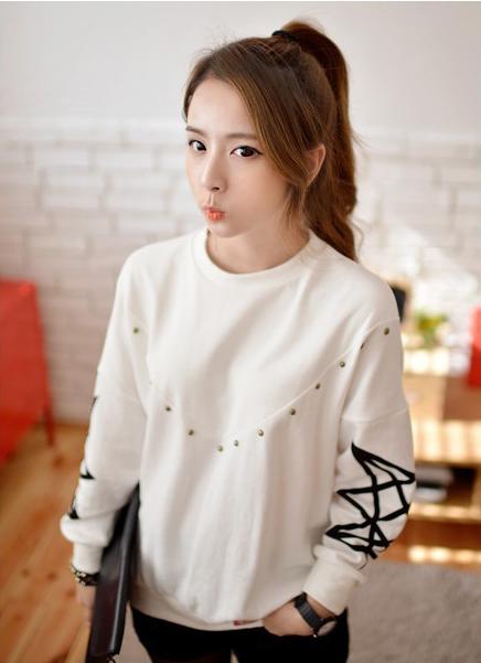 秋装新款条纹t恤女长袖打底衫上衣绣花图案韩版