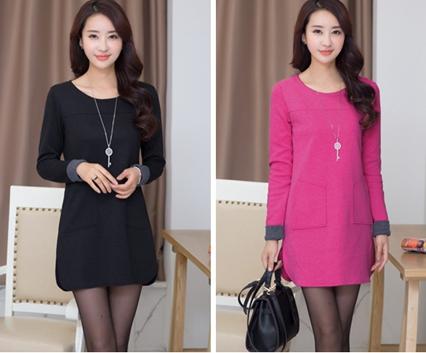 厂家直销2015韩版女装秋装长袖连衣裙东大门中长款连衣裙批发