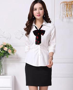 女装秋装白色衬衫OL围巾款衬衫批发新款女式长袖白衬衫