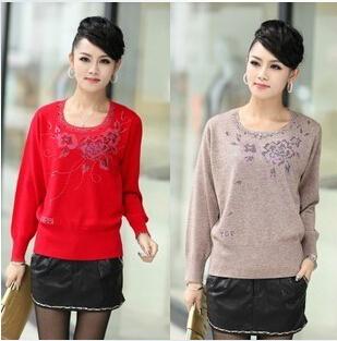 哪里有杂款中老年女装羊毛衫批发 广州沙河韩版女式毛衣批发