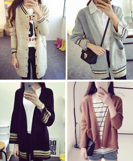 2015年秋冬季韩版女装中长款针织外套批发网上批发厂家