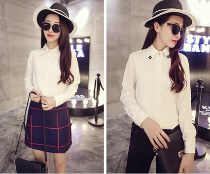 秋季长袖OL范衫衣批发女士秋季新款纯白衬衣批发韩国东大门气质白色衬衫批发