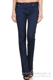 2015秋季款欧美蓝色女性修身显瘦直筒牛仔裤