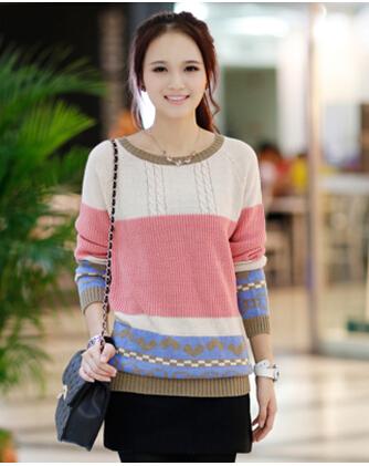 山东时尚大码韩版女装羊毛衫批发 广州沙河便宜女式针织衫毛衣批发