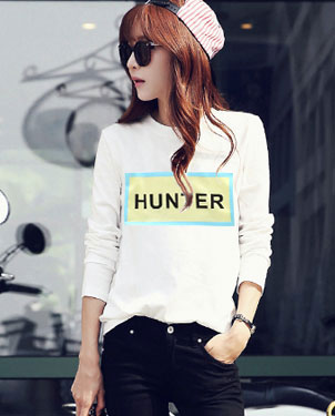 韩版印花女装T恤批发个性时尚女装长袖T恤批发