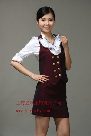 上海酒店服务员服装定做 定做酒吧制服,
