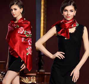 真丝丝绸绣花围巾,苏州刺绣大幅围巾披肩两用