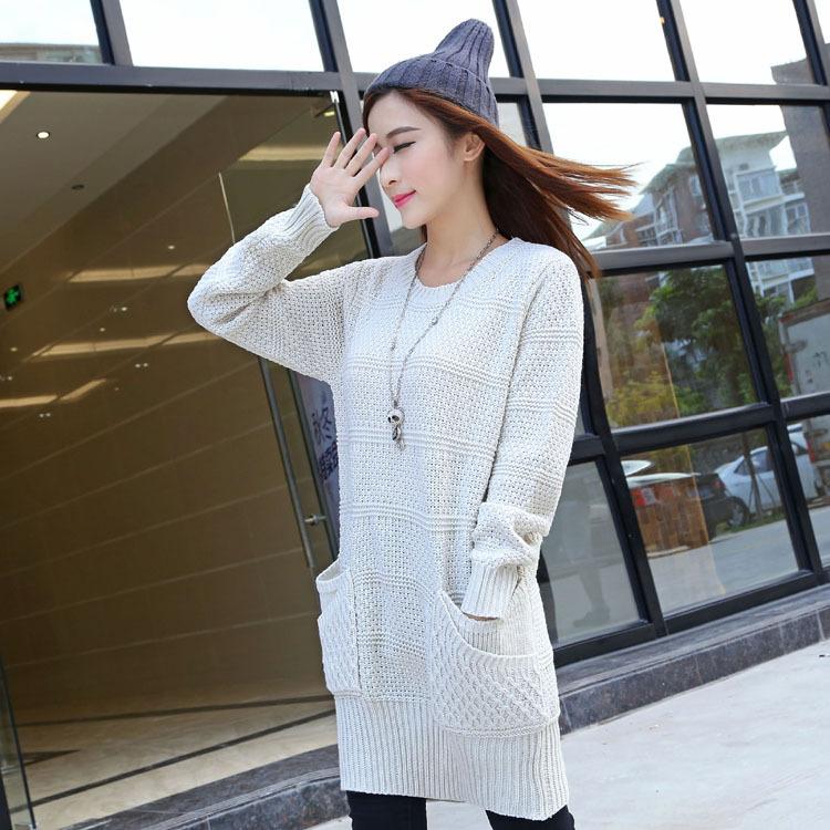 2015秋冬新款毛衣针织衫 女式韩版修身圆领套头双层袋针织毛衣