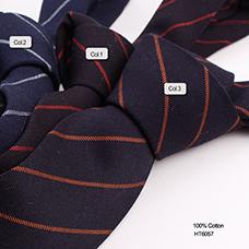男士休闲领带 藏青色条纹领带 全棉领带厂家定制供应批发
