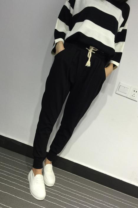 服装回收-女士休闲运动哈伦裤宽松显瘦九分小脚裤卫裤