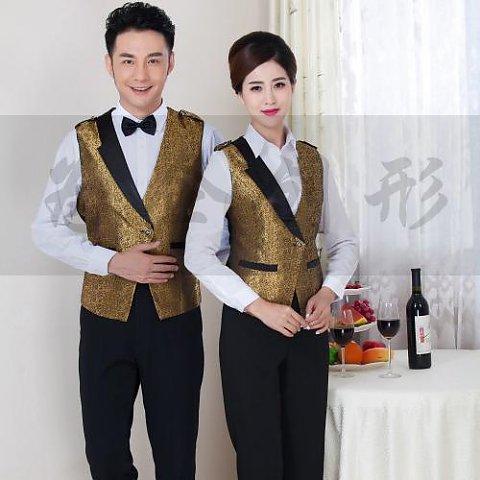 平遥为企创形定制男女同款马甲 酒店服务员主持专用工作服