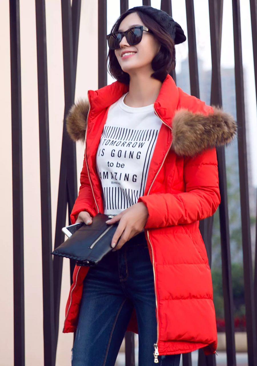 品牌折扣店货源 知名品牌朗文斯汀15冬装羽绒服大衣走份批发